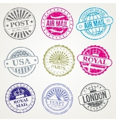 Retro postal stamps mail post office air vector image vector image