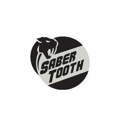 Saber Tooth Tiger Cat Head Circle Retro vector image