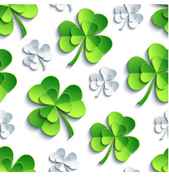 Seamless pattern with 3d patricks clover cutting vector