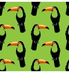 Seamless pattern with hand drawn toucan vector image