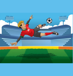 soccer player doing jump volley kick vector image vector image