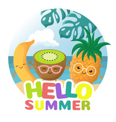 Summer beach party background with tropical vector