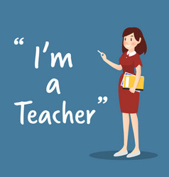 Teacher character with book and chalk on blue vector