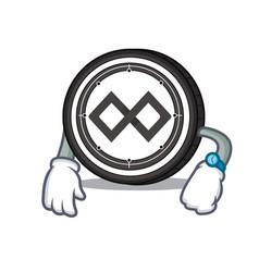 Waiting tenx coin mascot cartoon vector