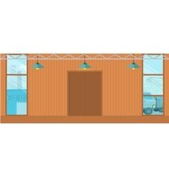 Warehouses hangar buildings in flat design vector