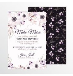 Wedding invitation with flowers anemone branches vector