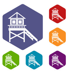 Wooden stilt house icons set vector