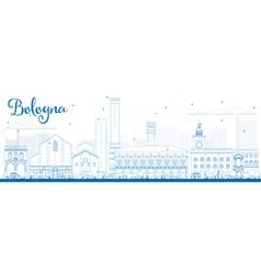 Outline bologna skyline with blue landmarks vector