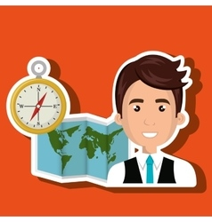 Man map world global travel vector