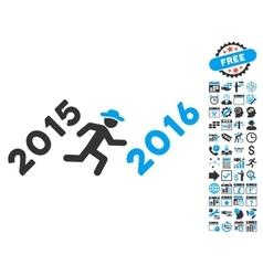 Run To 2016 Year Flat Icon With Bonus vector image
