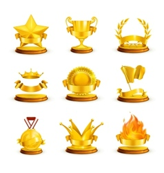 Gold awards set vector image