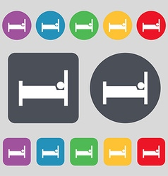 Hotel icon sign a set of 12 colored buttons flat vector