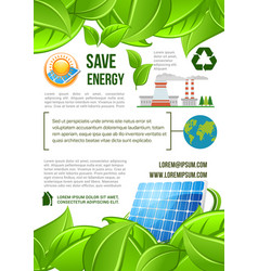 green energy and nature ecology poster vector image