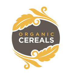 Organic cereals logo wheat symbol up and down vector