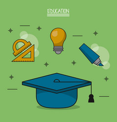 Colorful poster of education with graduation cap vector