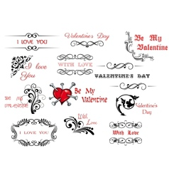 Valentines day scripts and decorations vector