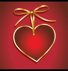 Red valentines background with heart and bow vector image