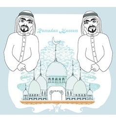 Muslim praying at medina holy islamic city vector