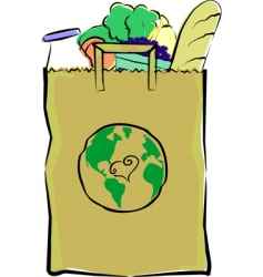 groceries in a paper bag vector image