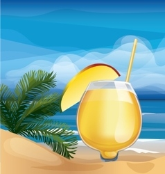 Tropic exotic cocktail on ocean beach vector