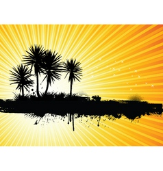 Grunge palm tree vector