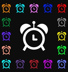 Alarm clock icon sign lots of colorful symbols for vector