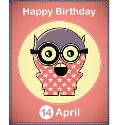 Happy birthday card with cute monster vector