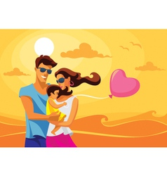Family by the sea vector