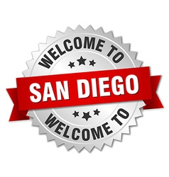 San diego 3d silver badge with red ribbon vector