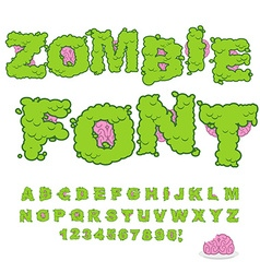 Zombie font scary green letters and brain horrible vector