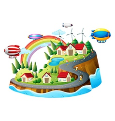 A view of the village with kids vector image