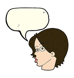cartoon female face with speech bubble vector image vector image