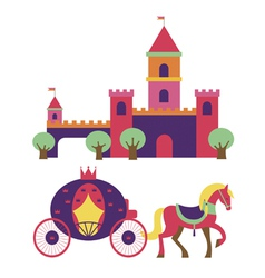 Castle and princess carriage vector