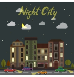 City street at night cars and buildings in vector