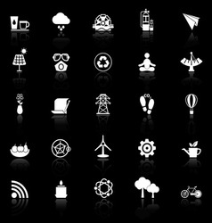 Clean concept icons with reflect on black vector