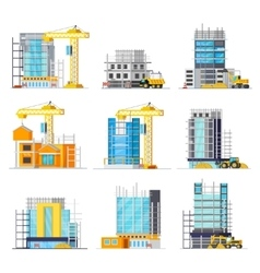 Construction Of Buildings Orthogonal Icons Set vector image vector image