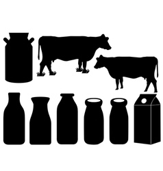 Cow silhouette and milk bottles vector