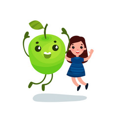 cute little girl having fun with giant green apple vector image vector image