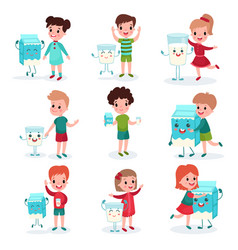 Cute little kids playing and having fun with happy vector