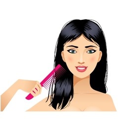Cute young woman combs hair eps10 vector image vector image