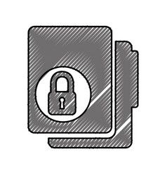 Folder file with padlock isolated icon vector