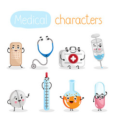 Funny medicine equipment cartoon characters vector