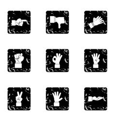 Gestural icons set grunge style vector