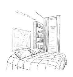 Hand drawn bedroom interior sketch vector