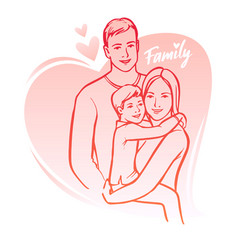 Happy family parents with child vector