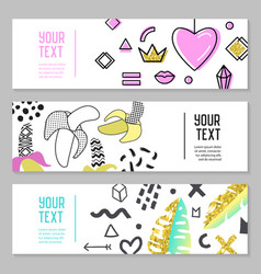Horizontal banners set with gold glitter elements vector