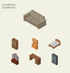 Isometric furniture set of cupboard couch vector