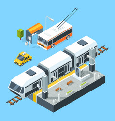 Isometric public transport stations bus and train vector