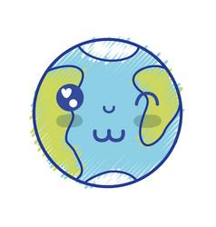 kawaii cute happy earth planet vector image