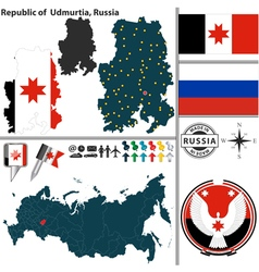 Map of Republic of Udmurtia vector image vector image